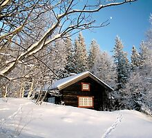 Cabin in winter by Ingvar Bjork Photography