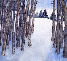 Watercolor 2_Snowy Hillside More Trees by Diane Johnson-Mosley