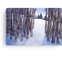 Watercolor 2_Snowy Hillside More Trees Canvas Print