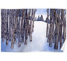Watercolor 2_Snowy Hillside More Trees Poster