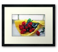 A dozen red roses Framed Print
