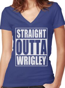 Straight Outta Wrigley Women's Fitted V-Neck T-Shirt