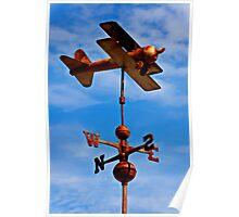 Biplane weather vane Poster