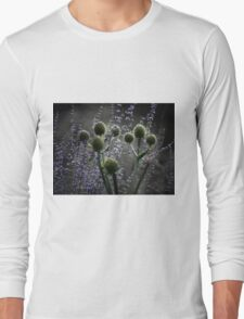 Russian Sage, Rattlesnake Master, Green and Purple Long Sleeve T-Shirt