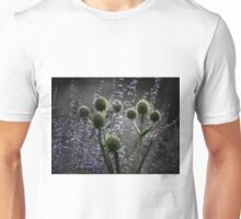 Russian Sage, Rattlesnake Master, Green and Purple Unisex T-Shirt