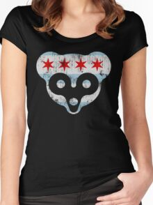 Chicago Flag Cub Face Women's Fitted Scoop T-Shirt