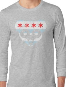 Chicago Flag Cubs Face Long Sleeve T-Shirt