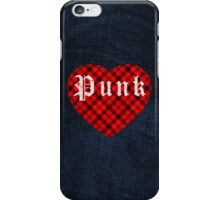 Red Tartan Punk Heart iPhone Case/Skin