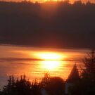 Golden Sunrise Over the Columbia River 4 by Dawna Morton