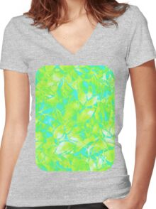 Grunge Art Floral Abstract Women's Fitted V-Neck T-Shirt