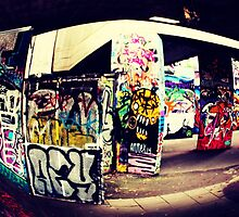 South Bank skate park graffiti  by sadtrombones
