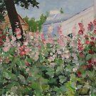 Hollyhocks by Olga Gorbacheva