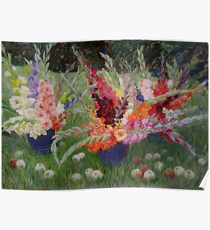 Gladioluses and Apples Poster