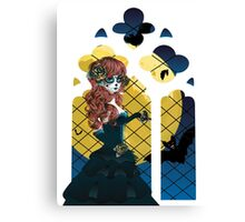 Day of the Dead girl and Gothic window  Canvas Print