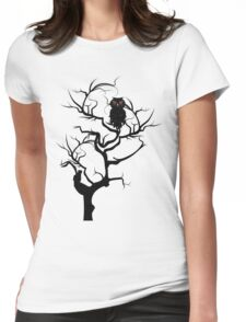 Black Owl 6 Womens Fitted T-Shirt
