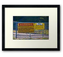 WARNING and Rain Policy Signs at Heartland Park Topeka Framed Print