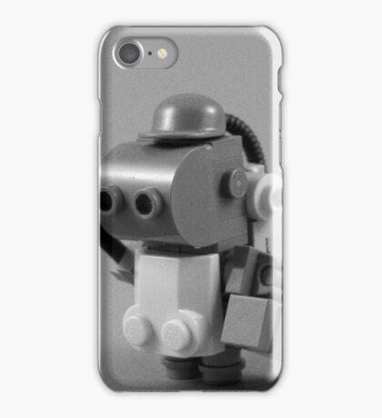 lego robot - black and white iPhone Case/Skin