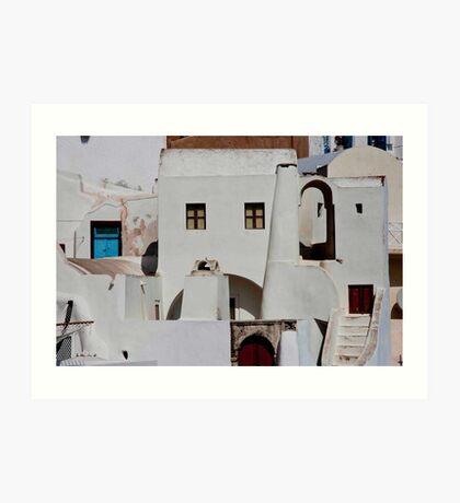 Santorini Streetscape Art Print