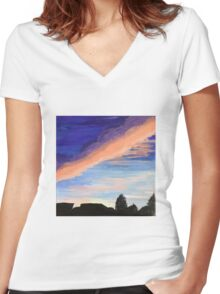 Vibrant Sunset Skies  Women's Fitted V-Neck T-Shirt