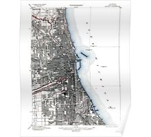 Vintage Chicago Illinois Map Poster