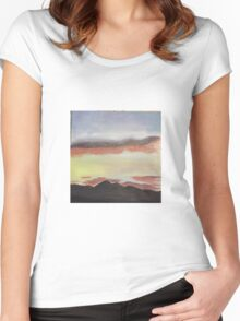 Sunset Sky Among Mountains Women's Fitted Scoop T-Shirt