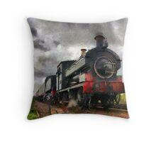 Steam train passing Throw Pillow