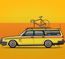 Yellow Volvo 245 Wagon With Roof Rack and Vintage Bicycle by Tom Mayer