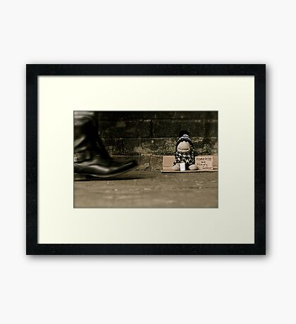 Homeless and Hungry Framed Print