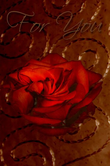 For You Card Rose With Stitched Background by Sandra Foster