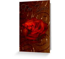 For You Card Rose With Stitched Background Greeting Card