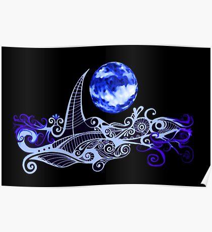 Card - Lunar Sailing - Ultramarine Poster