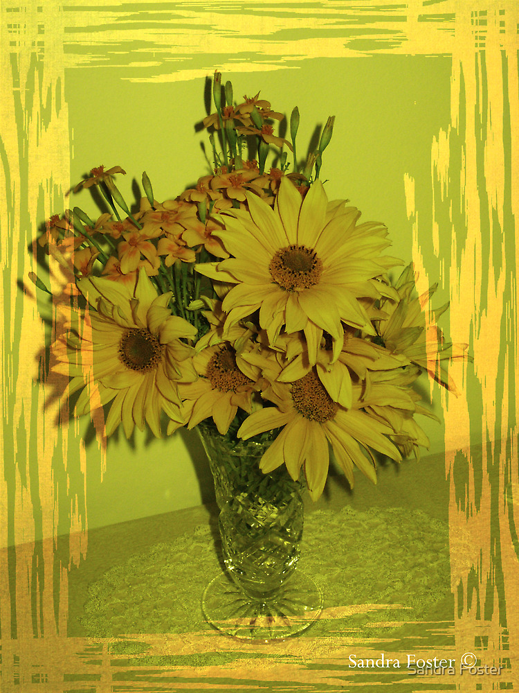 Last of summer pickins - yellow tagetes. by Sandra Foster