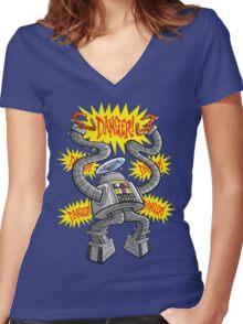 DANGER! Women's Fitted V-Neck T-Shirt