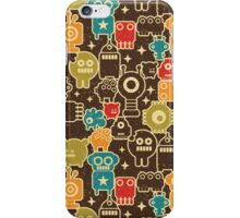 Robots on brown. iPhone Case/Skin
