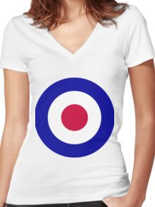 Roundel of the Royal Air Force Women's Fitted V-Neck T-Shirt