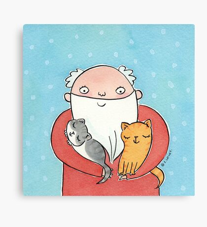 Santa Claus with Kitty Cats  Canvas Print