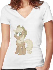 "Applejack lies ""You"" Version Women's Fitted V-Neck T-Shirt"