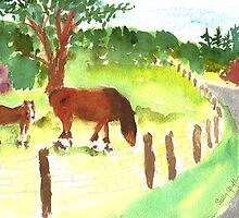 Mare and Colt at The Shire Stables by Sally Griffin
