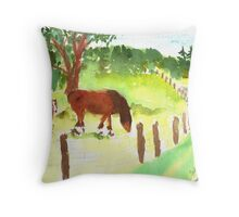 Mare and Colt at The Shire Stables Throw Pillow
