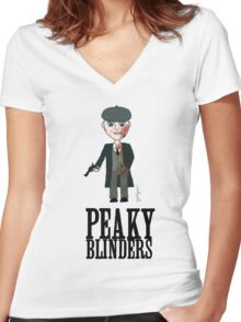 Peaky Blinders Toon Women's Fitted V-Neck T-Shirt