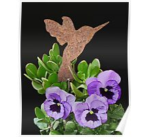 Garden Hummer and Pansies Poster