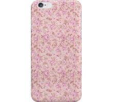 Chic vintage pink brown retro flowers pattern iPhone Case/Skin