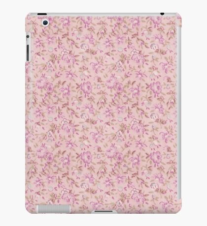 Chic vintage pink brown retro flowers pattern iPad Case/Skin