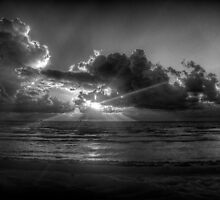 Sunrise at the beach: a study in Black and White by njordphoto