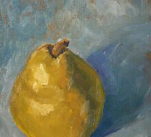 Pear on Blue by Rachel Hames
