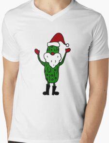 Funny Cool Pickle Santa Claus ChristmasArt Mens V-Neck T-Shirt