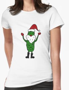 Funny Cool Pickle Santa Claus ChristmasArt Womens Fitted T-Shirt