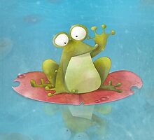 Waving Frog On A Lily Pad by WellingtonDrawe
