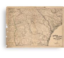 Map of Southern Georgia and part of South Carolina (1865) Canvas Print