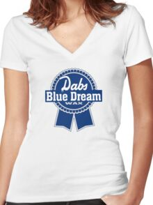 Dabs Blue Dream Women's Fitted V-Neck T-Shirt